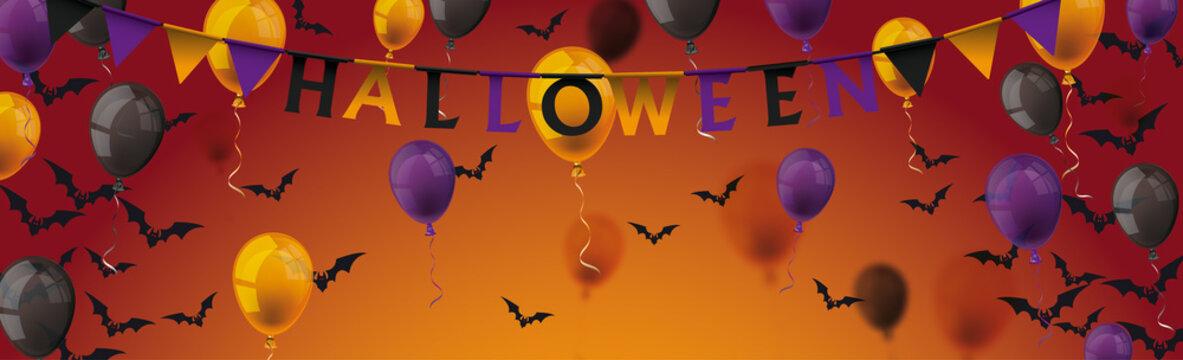 Halloween Balloons Bats Long Header