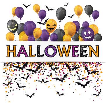 Halloween Banner Balloons Confetti Einschulung