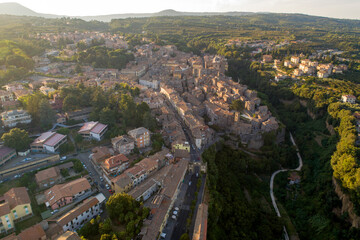 Aerial view of Ronciglione a village in Viterbo. Street houses and a beautiful landscape