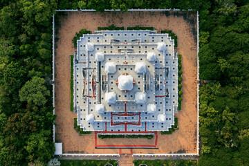 Wall Mural - Aerial view of pagoda watasokaram temple in Thailand.