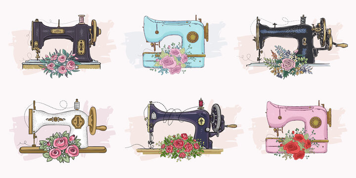 Set of hand drawn sewing machines