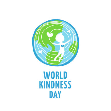 World kindness day logo. Random acts of kindness day emblem. Caring, responsibility, altruism of people. November 13. Man and hearts and planet. Vector illustration.