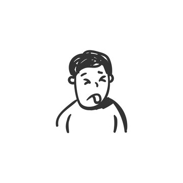 Disgust feeling icon. Fastidious man. Outline sketch drawing. Human emotions and feelings concept. Fastidiousness, dislike, nausea expression. Isolated vector illustration