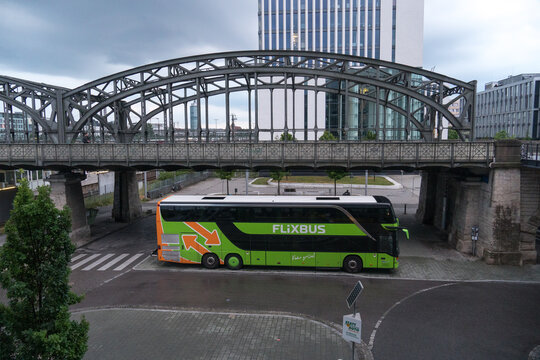 Munich, Germany - July 13, 2020: Green bus by the German company FlixBus, brand owned by FlixMobility GmbH offering intercity bus service in Europe and the United States
