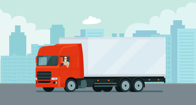 Cargo truck with a face masked driver on the background of an abstract cityscape. Vector flat style illustration.