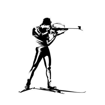 Biathlon standing shooting position, isolated vector silhouette. Biathlon racer logo