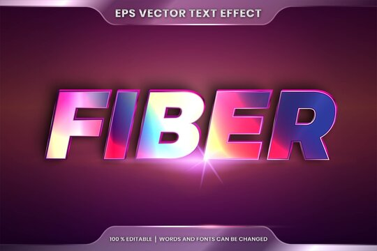 Text effect in 3d Fiber words, font styles theme editable realistic metal gradient color combination with flare light concept