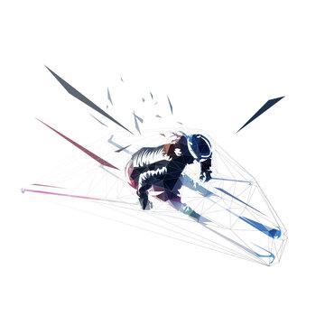 Downhill skier, slalom. Low polygonal aerial view. Isolated vector geometric illustration. Winter sport, alpine skiing