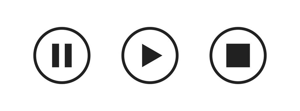 Play, pause and stop video button. Vector media icon for music and audio. Isolated sound sign