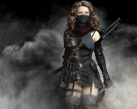 Mysterious silent rogue assassin female piercing through the smoke toward her target . Fantasy 3d rendering