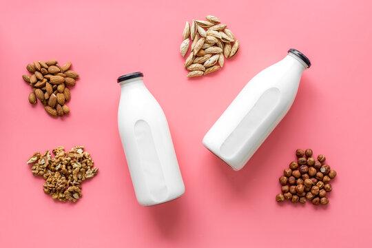 Almond, hazelnut, walnut milk in bottles - top view
