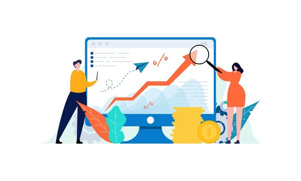 Money growth prediction and progress report illustration concept