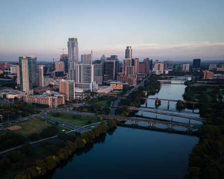 Austin texas skyline lady bird lake