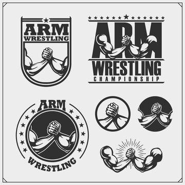 Set of arm wrestling club emblems, labels, badges and design elements. Print design for t-shirts.