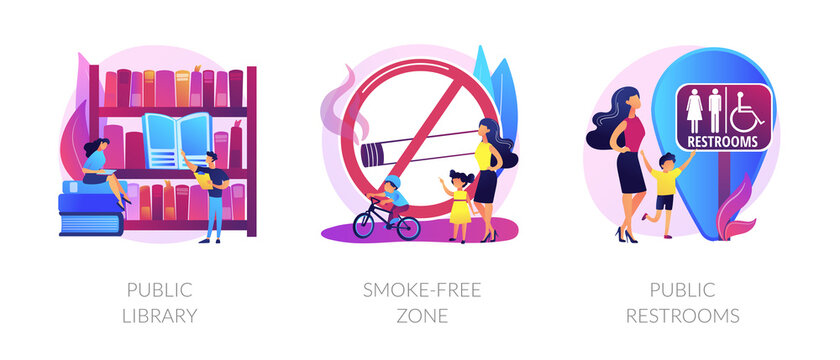 Urban places flat icons set. City recreation, people in bookstore. WC room sign. Public library, smoke-free zone, public restrooms metaphors. Vector isolated concept metaphor illustrations.