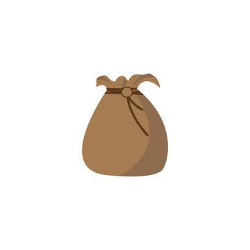 Brown bag. For money, things or trash. For decoration of a poster, baneoa, web page or online store. Isolated element on a white background. Vector