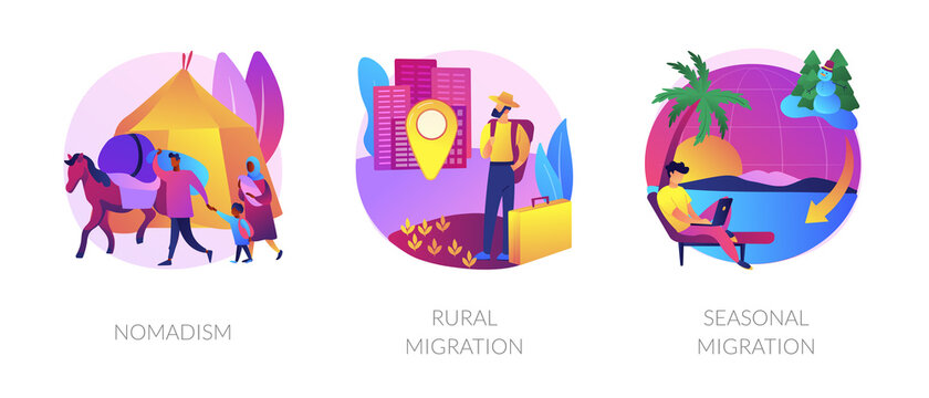 Temporary migration metaphors. Nomad lifestyle, rural and seasonal migration. Holiday vacation tourism. Changing settling place, moving to new location abstract concept vector illustration set.