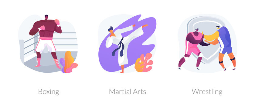 Combat sport abstract concept vector illustration set. Boxing, martial arts, wrestling training, boxer glove and ring, fight club, karate class, self-defense, professional fighter abstract metaphor.