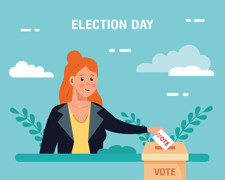Election day woman with vote paper and box design, president government and campaign theme Vector illustration
