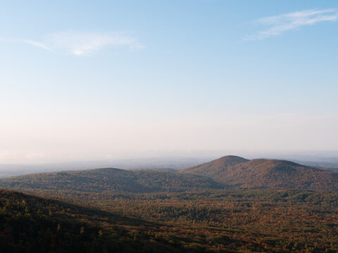 Morning Sunlight on Gap Mountain in Troy New Hampshire as seen from the Marlborough Trail on Mount Monadnock in Jaffrey