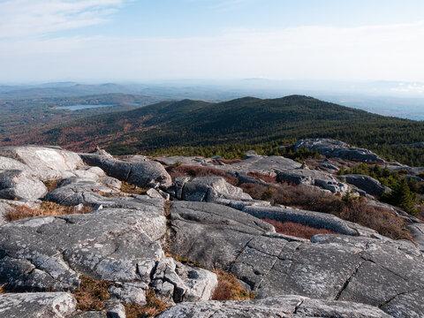 Near the summit of Mount Monadnock in Jaffrey New Hampshire looking along a ridgeline