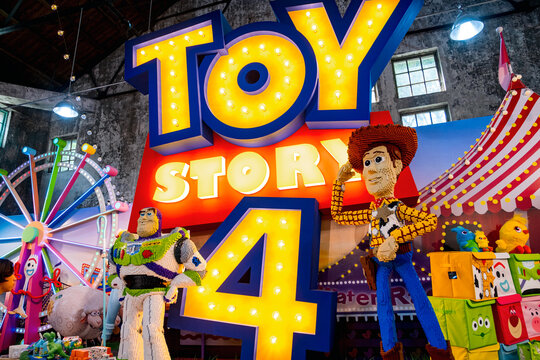 TAIWAN, TAIPEI - 4th Oct 2019, TOYS STORY, The display of animation characters made by LEGO.