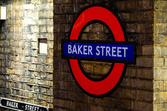London, England, UK - December 31, 2019:  Baker Street sign on the brick wall. It is the famous iconic of underground station in London, United Kingdom