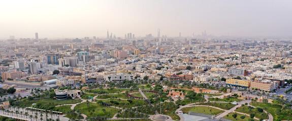 Aerial shot of King Abdullah Park in Riyadh, SAUDI ARABIA