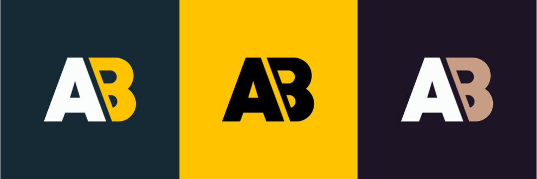letter ab logo design vector. joint ab iconic business and real estate letter logo.black and yellow logo.