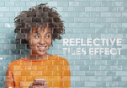Reflective Tiled Underground Wall Photo Effect Mockup
