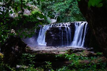 Chia waterfall hidden in the woods, Viterbo, Lazio, Italy