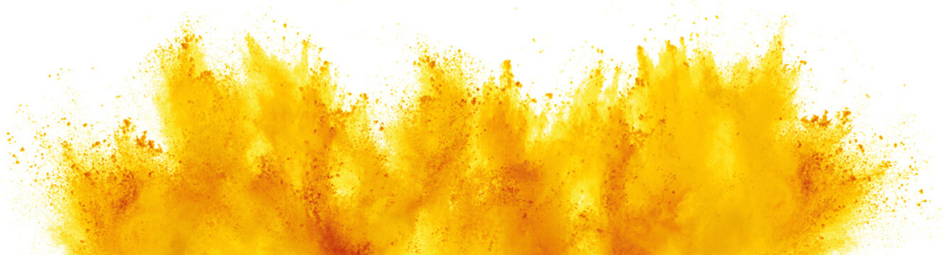 bright yellow holi paint color powder festival explosion isolated white background. industrial print concept background
