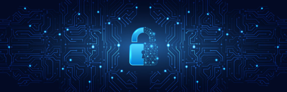 Internet security technology concept for business. Confidential data protection. Cybersecurity or information privacy idea. Padlock on the blue circuit board background.