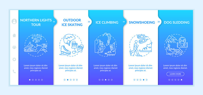 Winter recreational activities onboarding vector template. Outdoor ice skating. Snowshoeing. Mushing. Responsive mobile website with icons. Webpage walkthrough step screens. RGB color concept