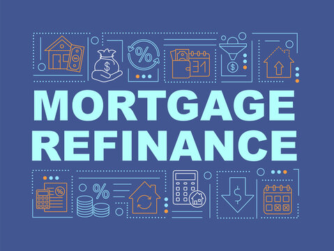 Mortgage refinance word concepts banner. Pay off old loan. Infographics with linear icons on dark blue background. Isolated typography. Vector outline RGB color illustration