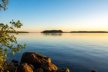 View of the sunset on The Lake Saimaa, Lammassaari, Imatra, Finland