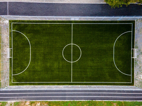aerial overhead top view of football court