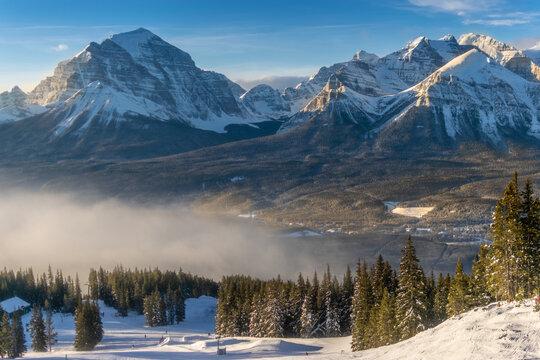 Rocky mountains around the Lake Louise ski resort, Alberta, Canada