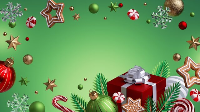 3d render, abstract Christmas green background with red wrapped gift box, glass balls, gingerbread cookies and festive ornaments.