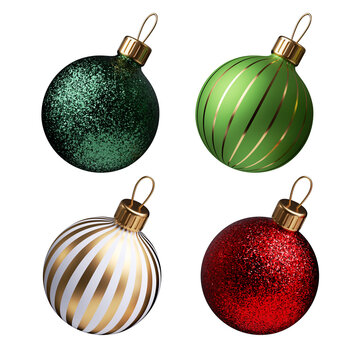 3d render, set of traditional red green glass ball ornaments for Christmas tree decoration, holiday clip art isolated on white background