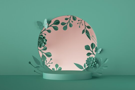 3d render, mint green floral background. Round frame with paper flowers, botanical arch and empty pedestal, showcase for cosmetic product display