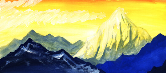 Watercolor bright landscape of vibrant yellow sky, high peaks of snow-capped mountain ranges and white cumulus clouds. Hand drawn illustration of beautiful sunset at mountains