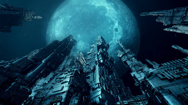 Futuristic skyscrapers with full moon. Science fiction scenery. 3D rendering