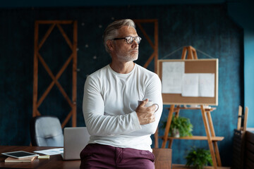 Photo sur Plexiglas Dinosaurs Casual Grey-haired Mature handsome businessman entrepreneur startup owner stand in modern office, posing in work space, business portrait