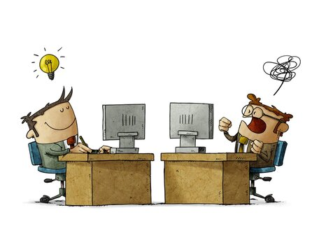 businessmen working at their desks, one is lucid and happy and the other is confused and angry. business mood concept. isolated