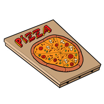 Classic pizza, great design. Vector icon. Vector illustration. Top view