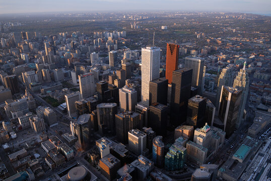 Arial view of Toronto financial district from the CN tower