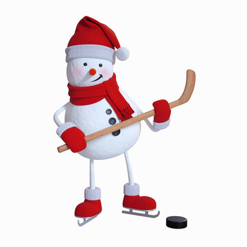 3d render, funny snowman plays hockey, Christmas character illustration, holiday clip art isolated on white background