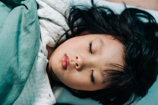 cute Asian little girl sleeping