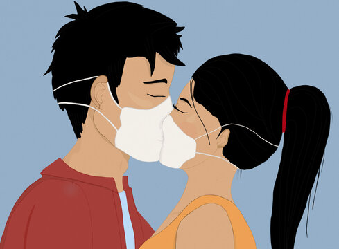 Asian couple kissing through medical masks